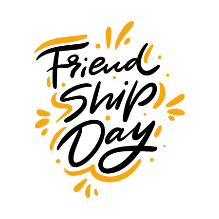 Friendship day hand drawn vector lettering. Isolated on white background. Banco de Imagens - 125070434