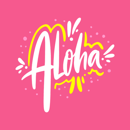 Aloha hand drawn vector lettering. Isolated on pink background.