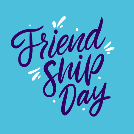 Friendship day hand drawn vector lettering. Isolated on blue background. Ilustração