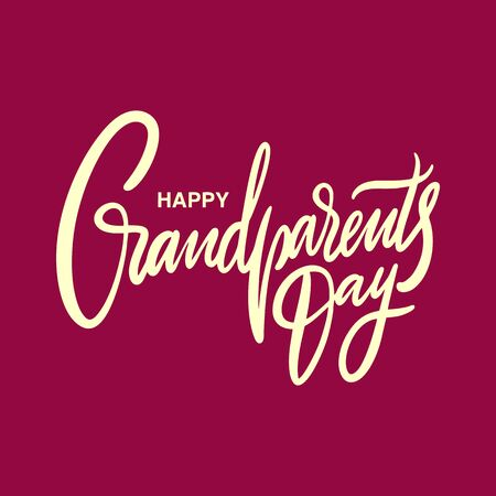 Happy Grandparents day holiday. Hand drawn vector lettering. Isolated on red background. Banque d'images - 125070538