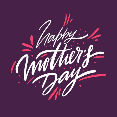 Happy Mothers day holiday. Hand drawn vector lettering. Isolated on violet background. Banque d'images - 125070541