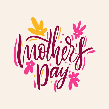 Happy Mothers day. Hand drawn vector lettering. Isolated on background. Banque d'images - 125070542