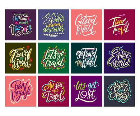 Travel and Adventure lettering set 12.