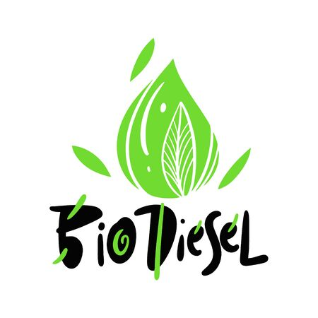 Bio Diesel vector lettering. Isolated on white background.