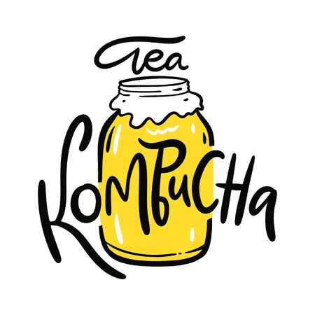 Kombucha hand drawn vector lettering and jar illustration. Isolated on white background. Kombucha healthy fermented probiotic tea.