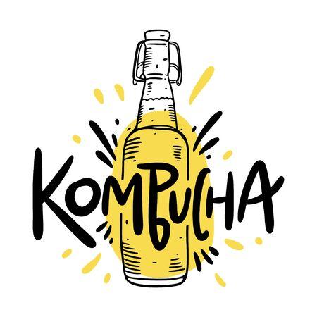 Kombucha hand drawn vector lettering and bottle illustration. Isolated on white background. Kombucha healthy fermented probiotic tea. Ilustração