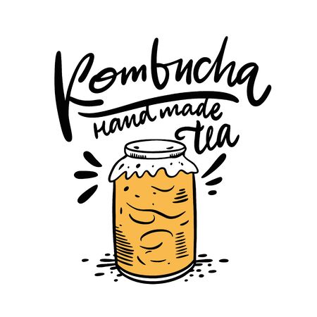 Kombucha hand drawn vector lettering and glass jar illustration. Isolated on white background