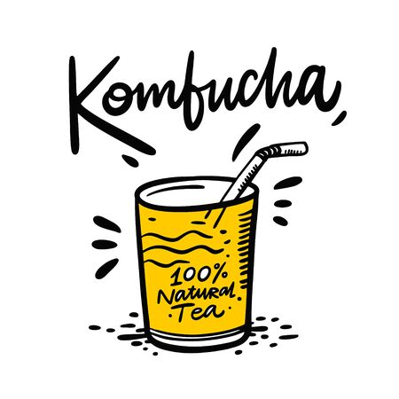 Kombucha hand drawn vector lettering and glass with a straw illustration. Isolated on white background. Kombucha healthy fermented probiotic tea.