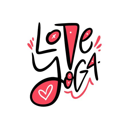Love Yoga hand drawn vector lettering. Scandinavian style typography.