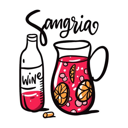 Sangria hand drawn vector lettering and illustration. Spanish Cocktail. Jug with drink and wine bottle. Isolated on white background. Design for logo, sticker, banner, poster print