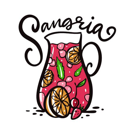 Sangria hand drawn vector lettering and illustration. Spanish Cocktail. Jug and fruits. Isolated on white background. Design for logo, sticker, banner, poster print