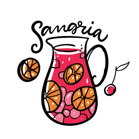 Sangria hand drawn vector lettering and illustration. Spanish Cocktail. Jug and fruits. Isolated on white background. Stock Illustratie
