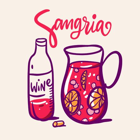Sangria hand drawn vector lettering and illustration. Spanish Cocktail. Stock Illustratie