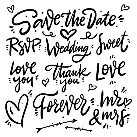 Save the date phrases set. Collection vector lettering. Isolated on white background. Foto de archivo - 129717836