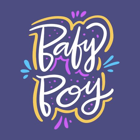Baby boy vector lettering. Isolated on blue background. Foto de archivo - 129717846