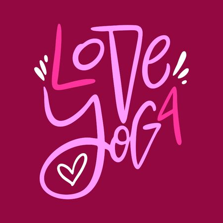 Love Yoga vector lettering. Scandinavian style typography. Isolated on red background. Stock Illustratie