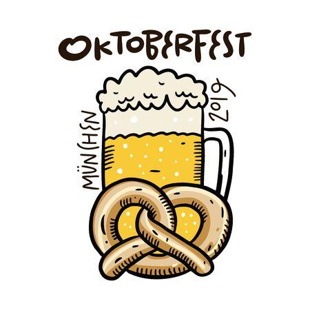 Oktoberfest vector lettering, beer glass illustration. Foto de archivo - 129717303