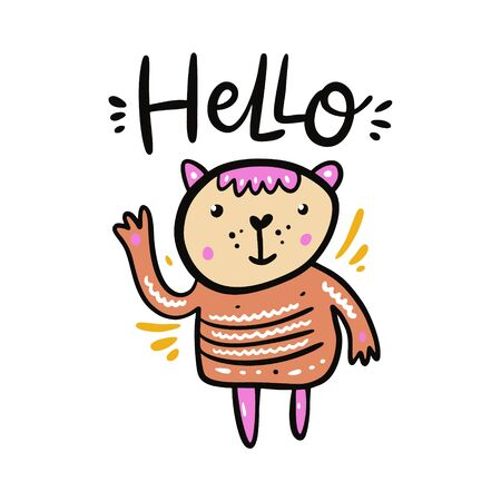 Cute Cartoon Girl Teddy Bear vector illustration and hello sign lettering. 일러스트