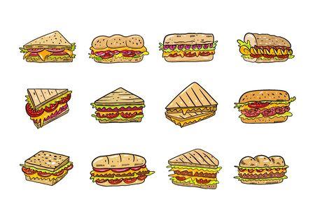 Jeu d'illustrations vectorielles en sandwich. Style de bande dessinée. Isolé sur fond blanc. Vecteurs