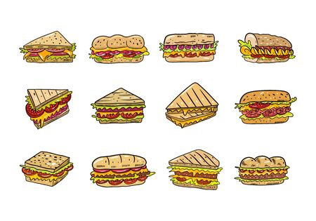 Sandwich vector illustration set. Cartoon style. Isolated on white background.