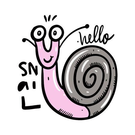 Cute snail in cartoon style. Stok Fotoğraf - 129717071