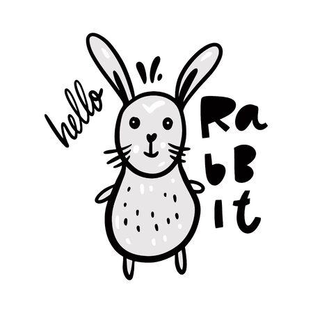 Cute bunny in cartoon style.