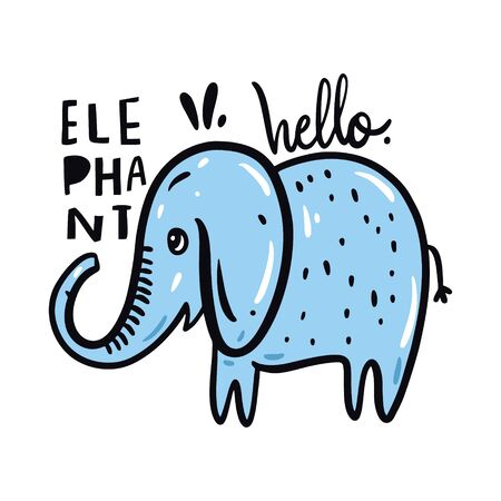 Cute Elephant in cartoon style. Hand drawn vector illustration.