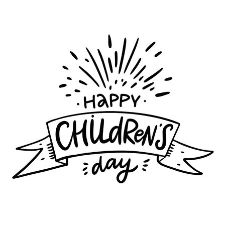 Happy Childrens day hand drawn vector lettering. Isolated on white background. Design for banner, poster, logo, sign, sticker, web, blog