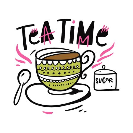 Teapot vector illustration and Tea Time phrase lettering. Isolated on white background.