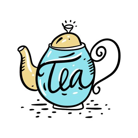 Teapot vector illustration and Tea word lettering. Isolated on white background. 일러스트