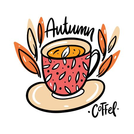 Coffee cup vector illustration and autumn word lettering. Isolated on white background. Cartoon style.