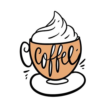 Coffee latte vector illustration and lettering. Isolated on white background.  イラスト・ベクター素材