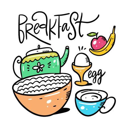 Breakfast porridge, egg, tea, apple and banana.