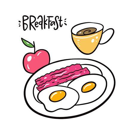 Breakfast eggs, bacon, apple and coffee mug. Stock Illustratie
