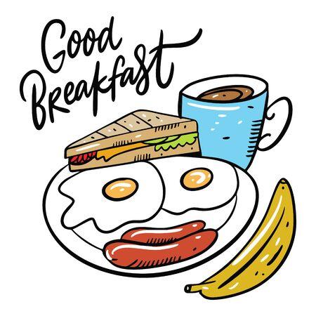 Good Breakfast eggs, sausage, sandwich, banana and coffee mug. Stock Illustratie