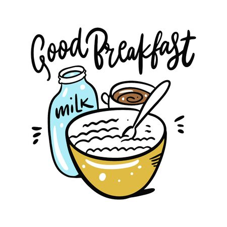 Good Breakfast cereal with milk and coffee mug.