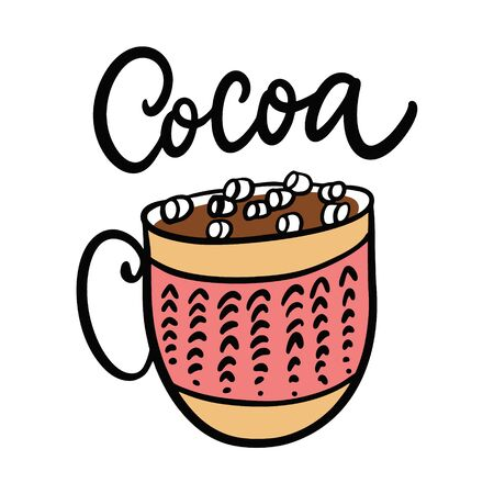 Cup of hot chocolate, cocoa. Ilustracja