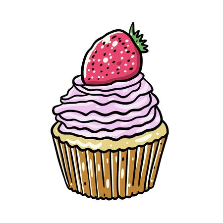 Strawberry Cupcake vector illustration. Isolated on white background. Иллюстрация