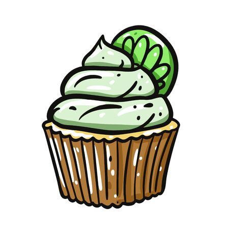 Cupcake with lime vector illustration. Isolated on white background.
