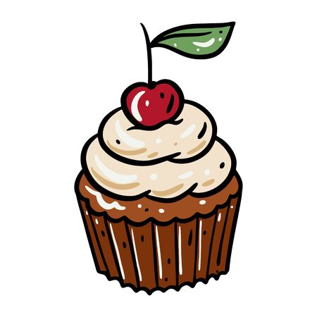 Cupcake with cherry vector illustration. Isolated on white background. 向量圖像