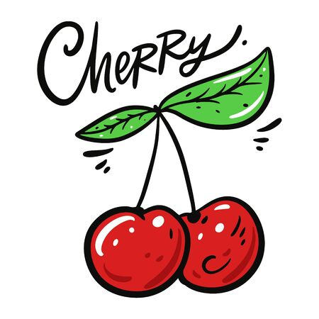 Red Cherry vector illustration and lettering. Isolated on white background. Stock Illustratie