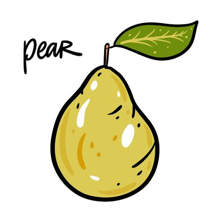 Green Pear vector illustration and lettering. Isolated on white background.  イラスト・ベクター素材