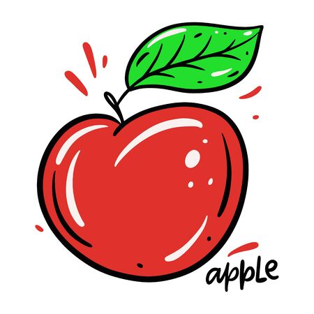 Red Apple vector illustration and lettering. Isolated on white background Stock fotó - 129715062