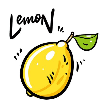 Lemon vector illustration and lettering. Isolated on white background.