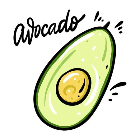 Avocado vector illustration and lettering. Isolated on white background.