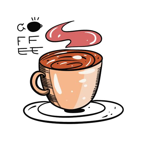 Coffee Cup vector illustration and lettering. Isolated on white background. 일러스트