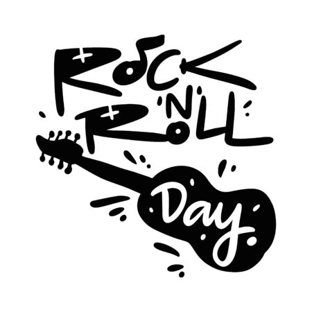 Rock-n-roll day vector illustration and lettering. Isolated on white background. Illustration