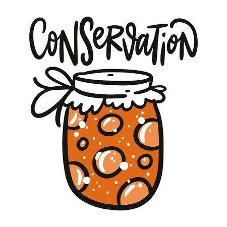 Conservation Jar vector illustration and lettering. Isolated on white background.