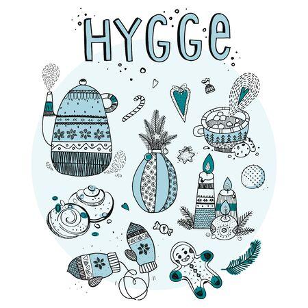 Hygge set elements vector illustration. Isolated on white background. Cartoon style.