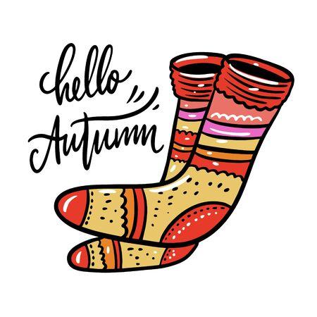 Autumn Socks vector illustration. Isolated on white background. Ilustração